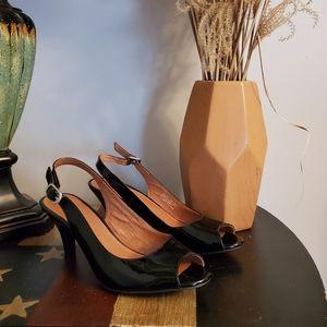 Clarks Artisan Black Pump Slingback Heel